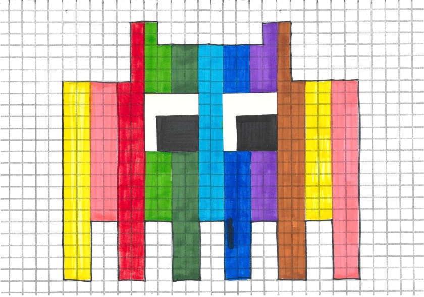 Pixel Art Space Invader Template_Rainbow